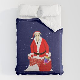 Christmas Whippet with snow Comforters