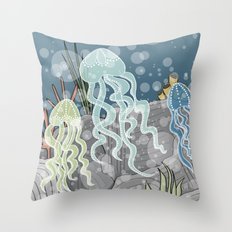 Floatin' Jellyfish Throw Pillow