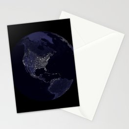 Earth Globe Lights Stationery Cards