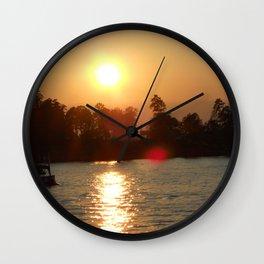 Sunset on the Lake Wall Clock