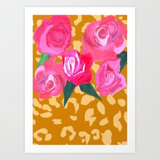 Floral and Tiger Print Art Print