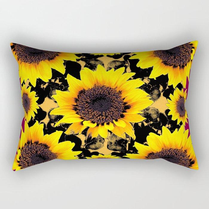 Black & Yellow Sunflowers Burgundy Purple Art Rectangular Pillow