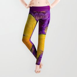 DECORATIVE LILAC-YELLOW FRAMED BUTTERFLY Leggings