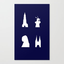 Delft silhouette on blue Canvas Print