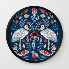 Storks, Birds and flowers. Oval decorative ornament. Folk art. Wall Clock