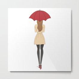 Fashion Girl Red Umbrella Red Bottom Heels Metal Print