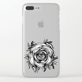 Black Rose flower With the eye Clear iPhone Case
