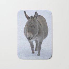 Donkey In The Snow Bath Mat