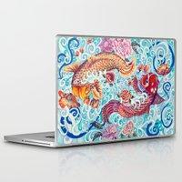 koi fish Laptop & iPad Skins featuring Koi Fish by Art by Risa Oram