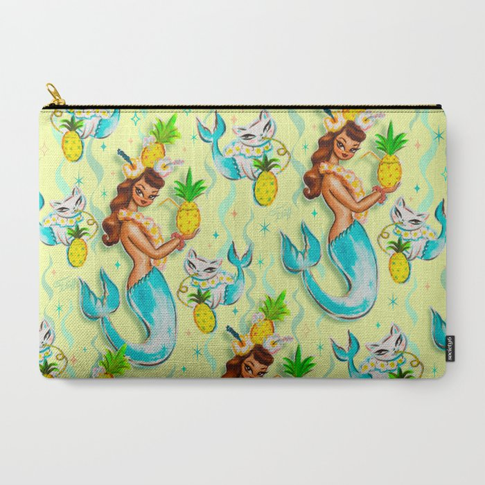 Tropical_Pineapple_Mermaid_with_Merkitties_CarryAll_Pouch_by_Miss_Fluff__Large_125_x_85