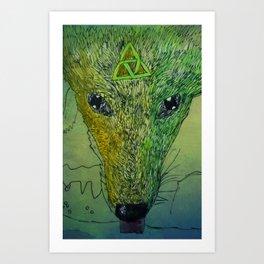 Mystical Celtic Jackal Drinking Art Print