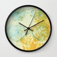 sunglasses Wall Clocks featuring Sunglasses by Leah Gonzales
