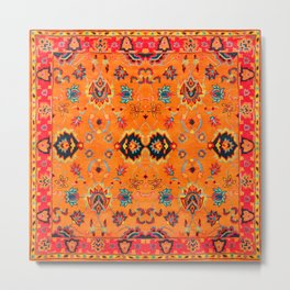 N123 - Orange Boho Oriental Moroccan Fabric Style Artwork Metal Print
