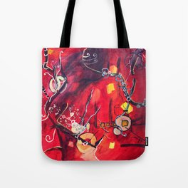Red, blue Tote Bag