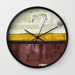 Timber Maroon Gold Abstract Art Painting Wall Clock