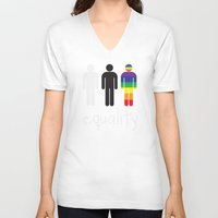 equality V-neck T-shirts featuring Equality pride by Tony Vazquez
