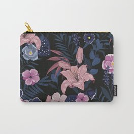 Dark Floral Tropical Sensual Garden Pink Hibiscus Floral Pattern Carry-All Pouch