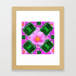 May Green Emerald Gems & Pink Roses Fuchsia Art Framed Art Print
