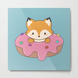 Kawaii fox and donut Metal Print