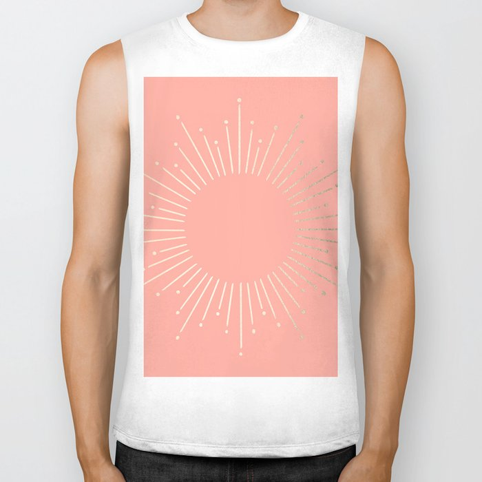 Simply Sunburst in White Gold Sands on Salmon Pink Biker Tank