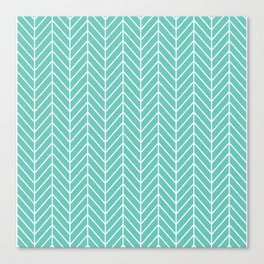 Turquoise Herringbone Pattern Canvas Print