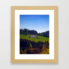 A farm, blue sky and some panorama | landscape photography Framed Art Print