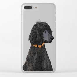 Misza the Black Standard Poodle Clear iPhone Case