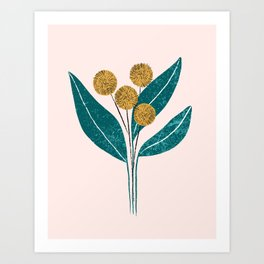 Yellow flowers with textured leaves Art Print