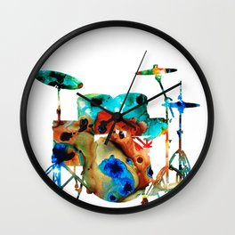 The Drums - Music Art By Sharon Cummings Wall Clock