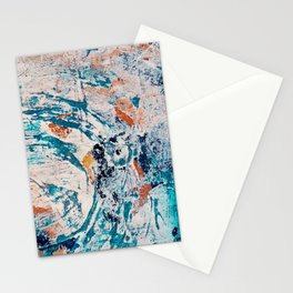 Reflections: a bold and interesting abstract mixed media piece in blues, yellows, orange, and white Stationery Cards
