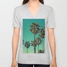 Palm Trees Turquoise Sky Unisex V-Neck