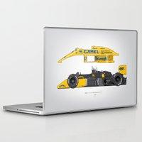 senna Laptop & iPad Skins featuring Outline Series N.º5, Ayrton Senna, Lotus 99T-Honda, 1987 by Ricardo Santos