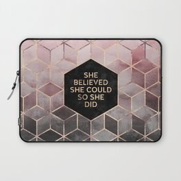 She Believed She Could - Grey Pink Laptop Sleeve