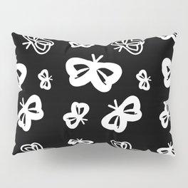 Flying Butterflies Pattern White on Black Pillow Sham