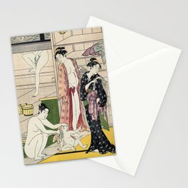 Interior of a Bathhouse by Torii Kiyonaga - Japanese Woodblock Stationery Cards