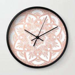 Flower Mandala on Rose Gold Wall Clock