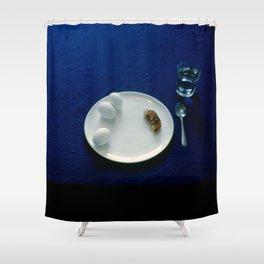Breakfast in Blue Shower Curtain
