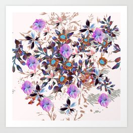 Beautiful watercolor flowers. Blue morning filed Art Print