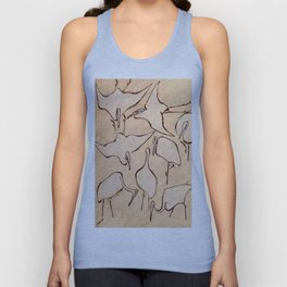 """Katsushika Hokusai """"Cranes from Quick Lessons in Simplified Drawing"""" (1823)(original) Unisex Tank Top"""