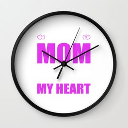 Team Moms Full Heart Mothers Day T-Shirt Wall Clock