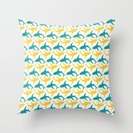 Yellow and teal shark pattern Throw Pillow