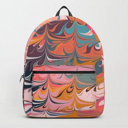 Colorful Abstract Marbled Design Backpack