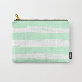 Stripes Mint Green and White Carry-All Pouch