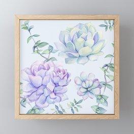 Wonderful Succulents Light Blue Framed Mini Art Print