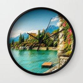 Lake Como, Italy Landscape Painting by Jeanpaul Ferro Wall Clock