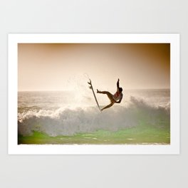 Dane Reynolds, Surfing during world tour of surf Art Print