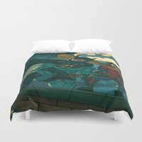 justice league Duvet Covers featuring bat man the watch men justice league man of steel by Brian Hollins art