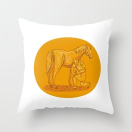 Farrier Placing Shoe on Horse Hoof Circle Drawing Throw Pillow