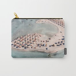 Tropical Beach In Greece Drone Photo   Calm Turquoise Blue Color Ocean Art Print   Digital Europe Travel Photography Carry-All Pouch