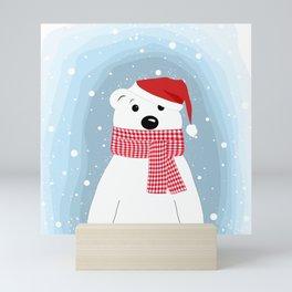 Polar bear wearing a Santa hat. Mini Art Print